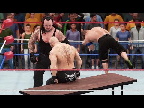 WWE 2K18 - John Cena vs Undertaker vs Brock Lesnar - Table Match Gameplay (PS4 HD) [1080p60FPS]