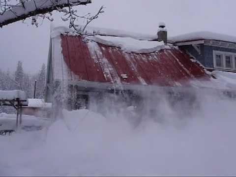 Snow Sliding Off The Roof A Roof Avalanche Youtube