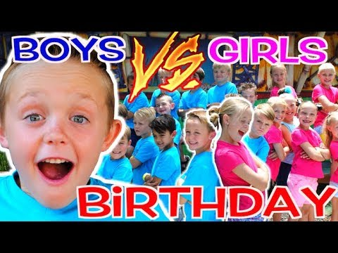 BOYS vs GIRLS! Kadens Birthday Party Challenge! Kids Fun TV