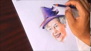 Drawing Queen Elizabeth II.