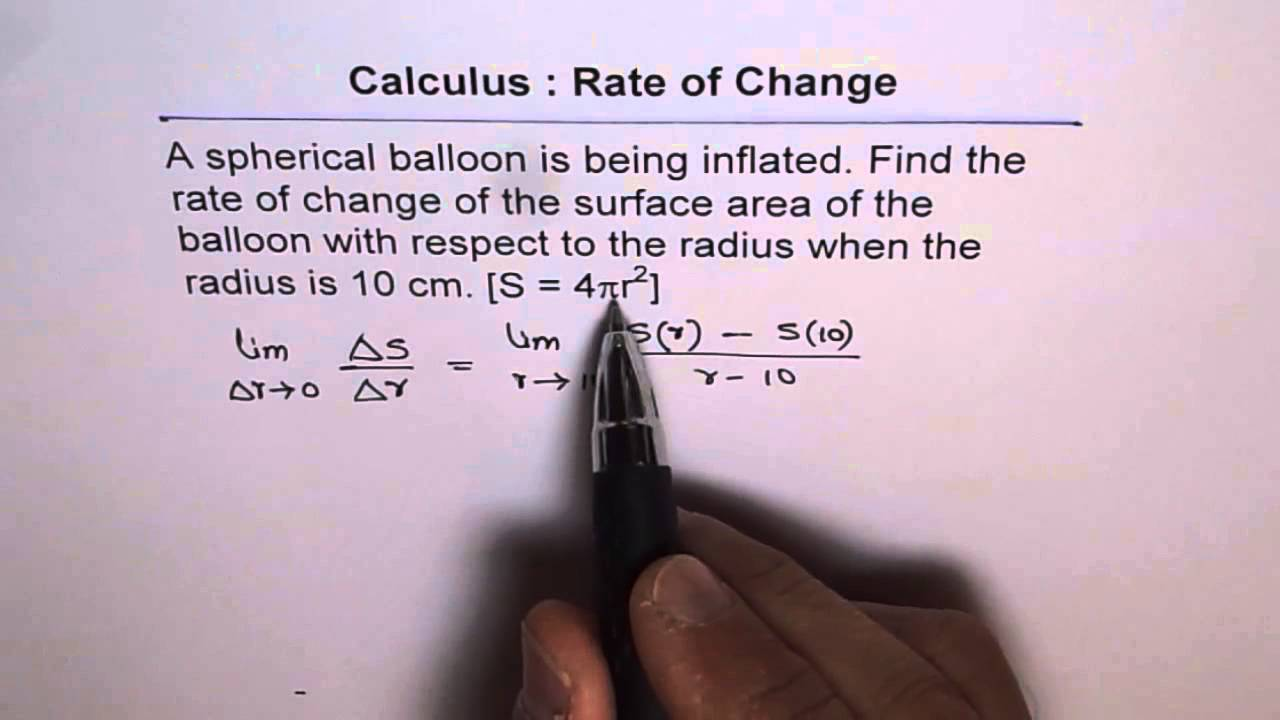 Calculus: Rate Of Change Of Surface Area For Sphere With Limits