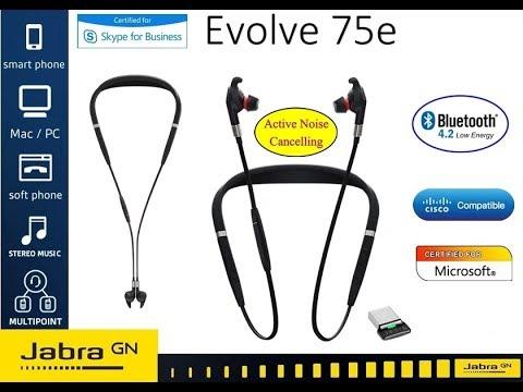 Jabra Evolve 75e Uc Wireless Noise Cancelling Headphones Youtube