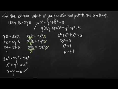 lagrange multipliers, three dimensions one constraint (KristaKingMath)