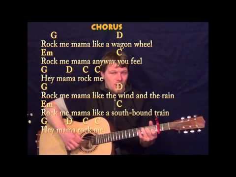 Wagon Wheel - Fingerstyle Guitar - G D Em C - Capo 2nd  - Cover Lesson with Lyrics