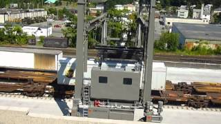 Unloading trailers at Worcester CSX intermodal yard