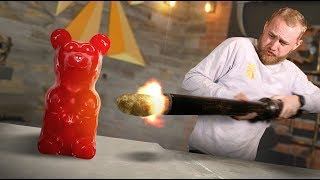 Giant Gummy Bear VS Potato Cannon!
