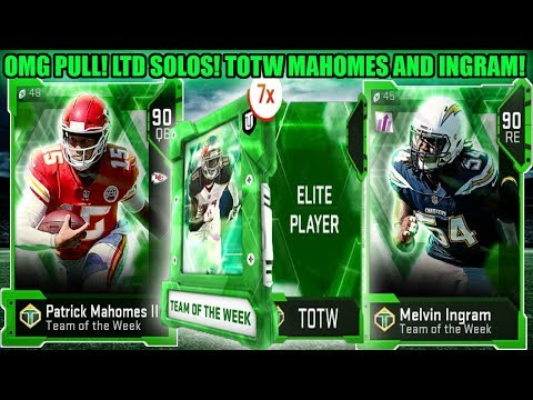 OMG PULL! LIMITED TIME SOLOS! TOTW MAHOMES AND MELVIN INGRAM! TOTW WEEK 2! | MADDEN 19 ULTIMATE TEAM