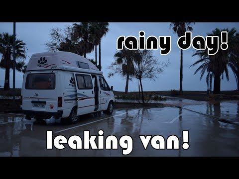 LIVING IN A VAN IN THE RAIN! and we have a leak!