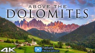 SOBRE LOS DOLOMITAS (4K) Italia 1 hora de película ambiental para drones en 4K + música relajante