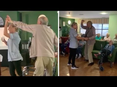Mark - Elderly man beams when home care worker invites him to dance