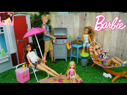 Barbie Throws a BBQ party and Ken gets a bad Sunburn -  NEW Barbie Doll Furniture Playsets