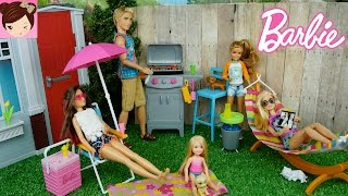 barbie girl throws a bbq party and ken gets a bad sunburn new barbie doll furniture playsets