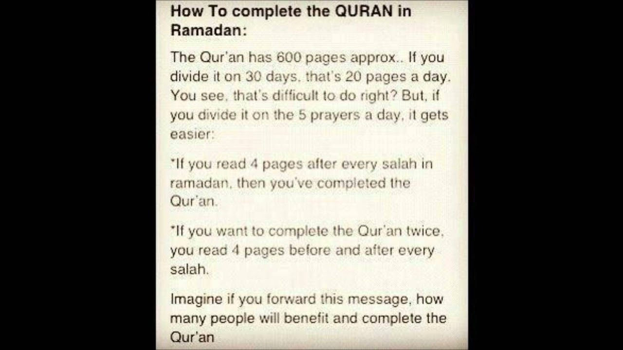 How to complete the Quran in Ramadan