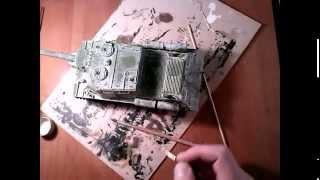 СБОРНЫЕ МОДЕЛИ Покраска модели ИСУ-152 Зверобой попытка сделать зимний камуфляж / ISU 152