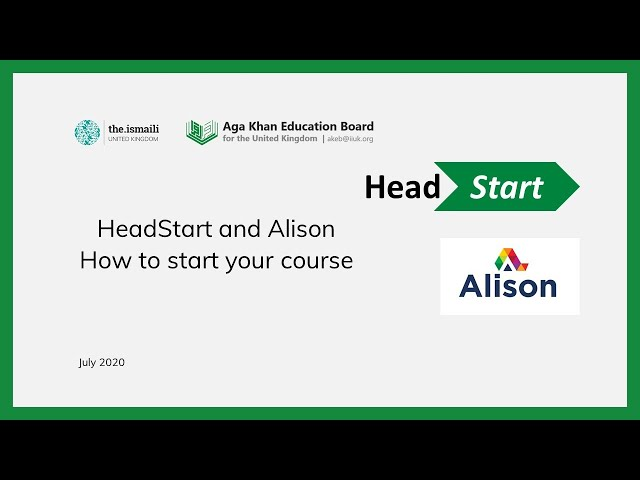 Headstart and Alison: How to start your course - AKEB