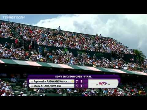 2012 Sony Ericsson Open - Women's Final Highlights - Maria Sharapova v Agnieszka Radwanska