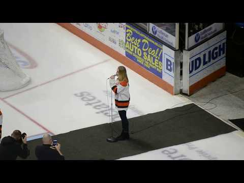 Addison Agen sings national anthem at Fort Wayne Komets game