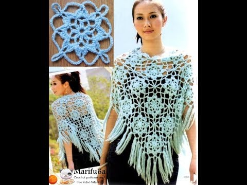 How To Crochet Lace Blue Poncho Jumper Tunic Pattern Tutorial Youtube