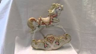Hearts & Roses Wind-up Musical Rocking Horse