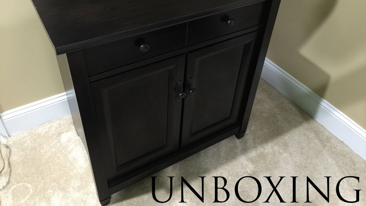 Sauder Edge Water Cabinet Unboxing in 4K - YouTube
