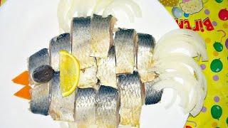 Как красиво подать селедку//Нарезка селёдки на праздничный стол