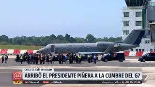 Presidente Piñera llega a Francia para participar en la Cumbre del G7