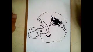 Como dibujar el casco de los patriotas NFL/ how to draw helmet Patriots NFL