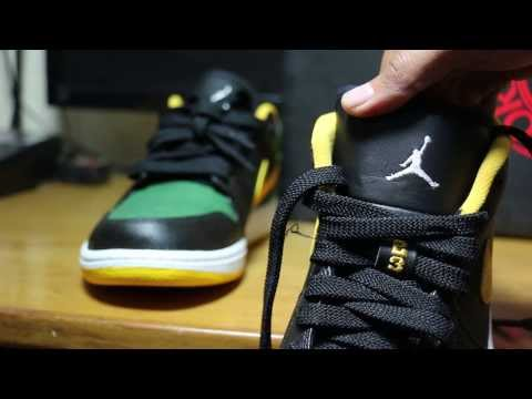 Nike Men Black & Green Air Jordan 1 Low