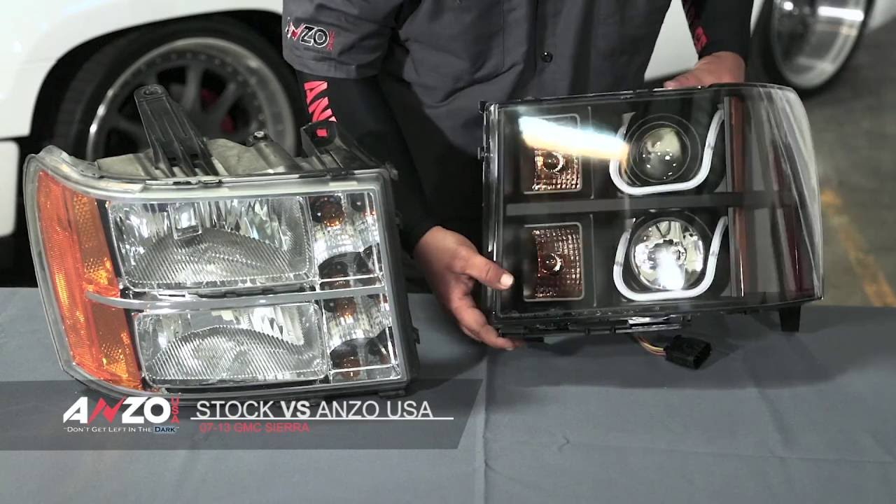 AnzoUSA 2007-2013 GMC Sierra U-Bar Projector Headlight - YouTube