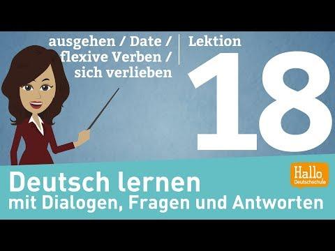 Deutsch Lernen Mit Dialogen / Lektion 18 / Ausgehen / Date / Reflexive Verben / Sich Verlieben