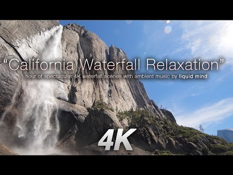 4K California Waterfall Relaxation + Music by LIQUID MIND Nature Relaxation Video