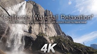 4K California Waterfall Relaxation + Music by LIQUID MIND Nature Relaxation Video thumbnail