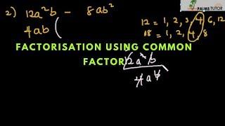 Factorisation using common factor