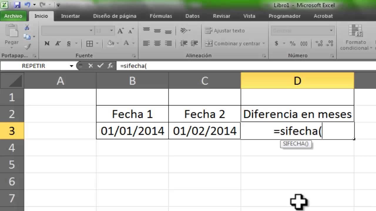 Excel Saber Meses Entre Dos Fechas Con Formula Youtube