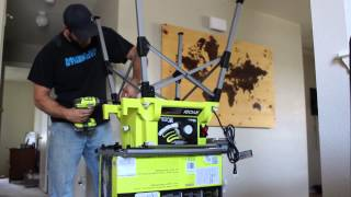 Ryobi Portable Table Saw Un-boxing and Assembly