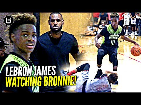 2845450c860 LeBron James watches Son Bronny Play   Gets TOO HYPE! Blue Chips vs Team  Billups