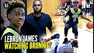 Lebron james watches son bronny play & gets too hype! blue chips vs team billups