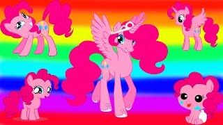 My Little Pony Transforms - Princess Pinkie Pie Baby Teen Alicorn - MLP Coloring Videos For Kids