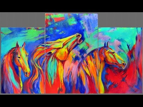 How to paint abstract horses abstract expressionist mustangs acrylic painting video timelapse