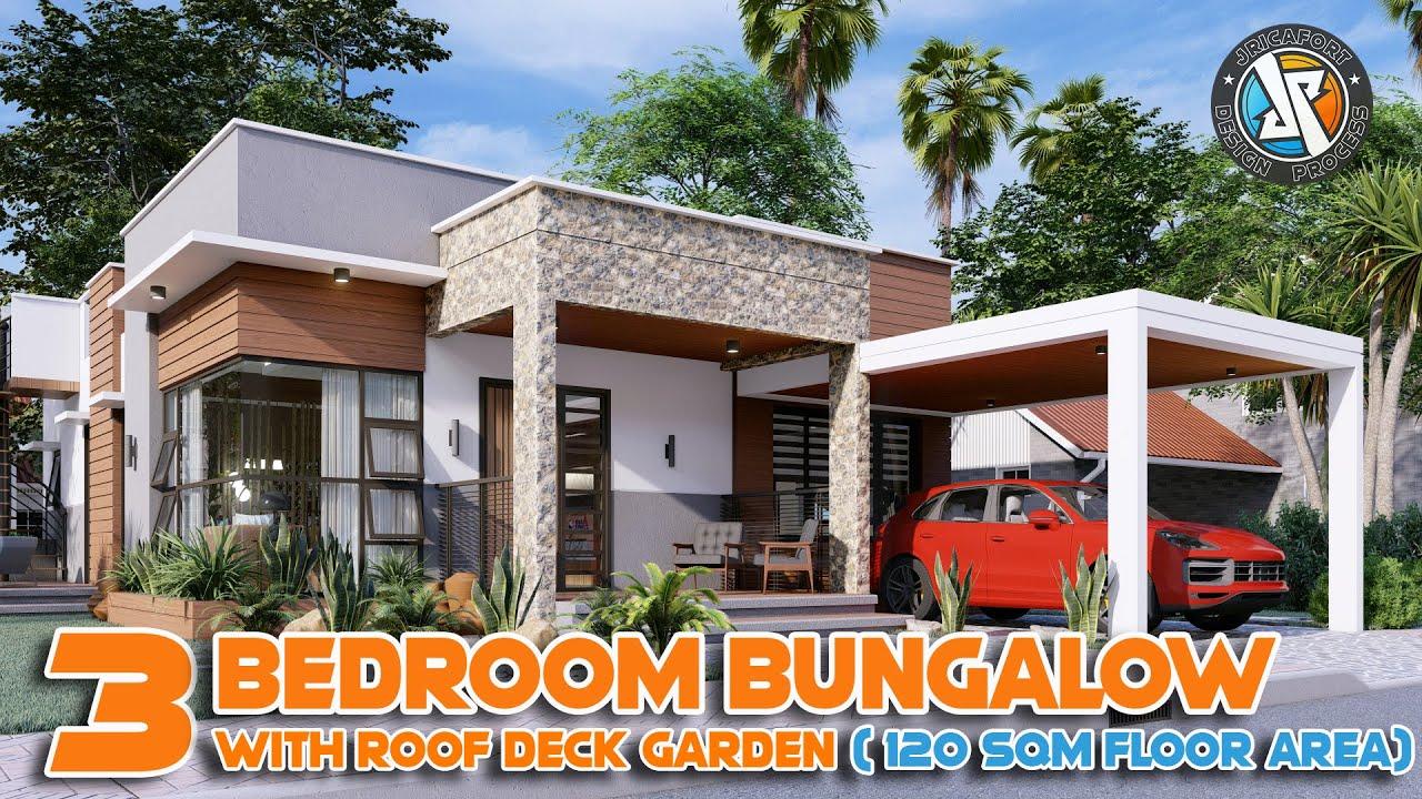 3 Bedroom Bungalow with Roof Deck HOUSE DESIGN (120sqm) | Jricafort Design Process