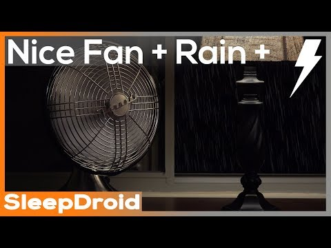 ► Dripping Rain and Thunder with Medium Speed Fan Sounds for Sleeping. Fan White Noise. Rain/Thunder