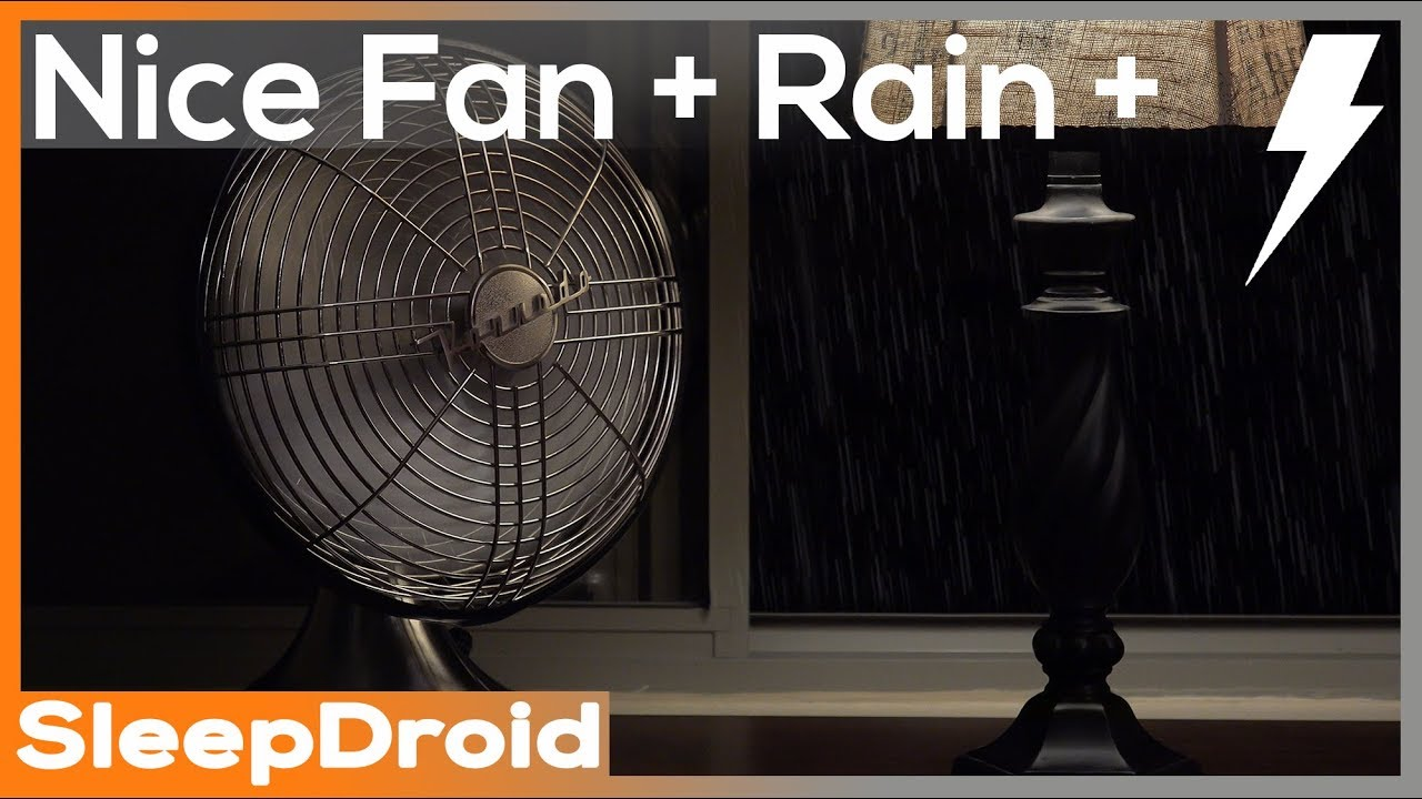 dripping rain and thunder with medium speed fan sounds for
