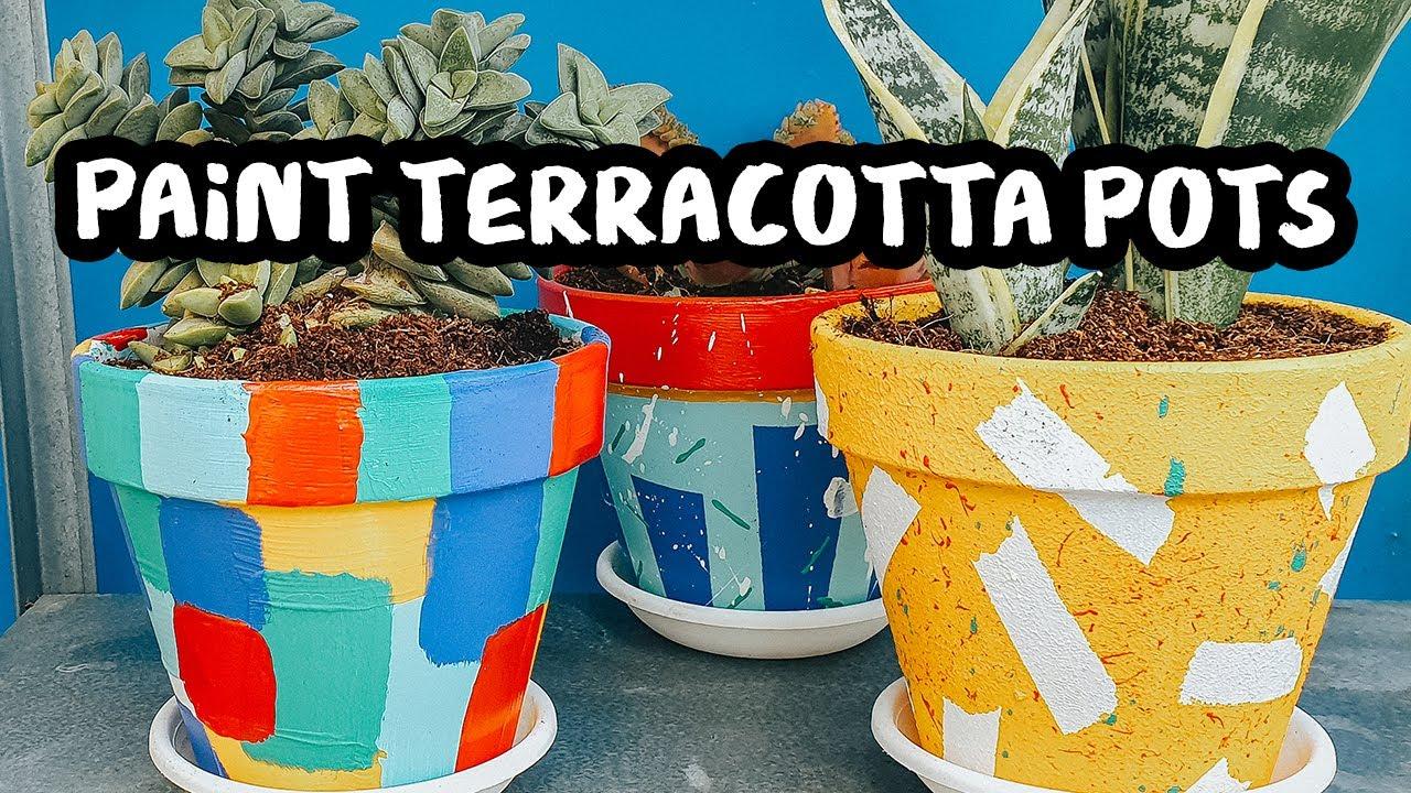 3 Ways To Paint Terracotta Pots Diy Painted Plant Pots Tutorial Youtube