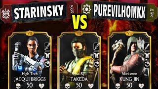 MKX Mobile 1.14. StarInSky vs. PURE EVIL! 👹 Amazing Shirai Ryu Takeda Team!