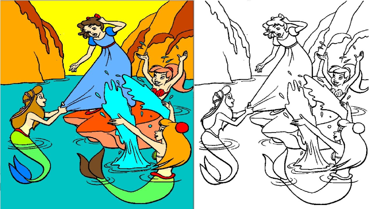 peter pan coloring pages coloring videos for kids - Peter Pan Mermaids Coloring Pages