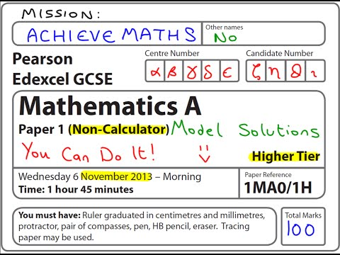 GCSE Maths Edexcel November 2013 1H Higher Non-Calculator (complete paper)