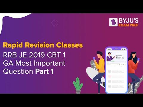 Rapid Revision Classes RRB JE 2019 CBT 1 GA Most Important Question Part 1