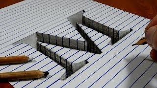 Draw a Letter M Hole on Line Paper   3D Trick Art