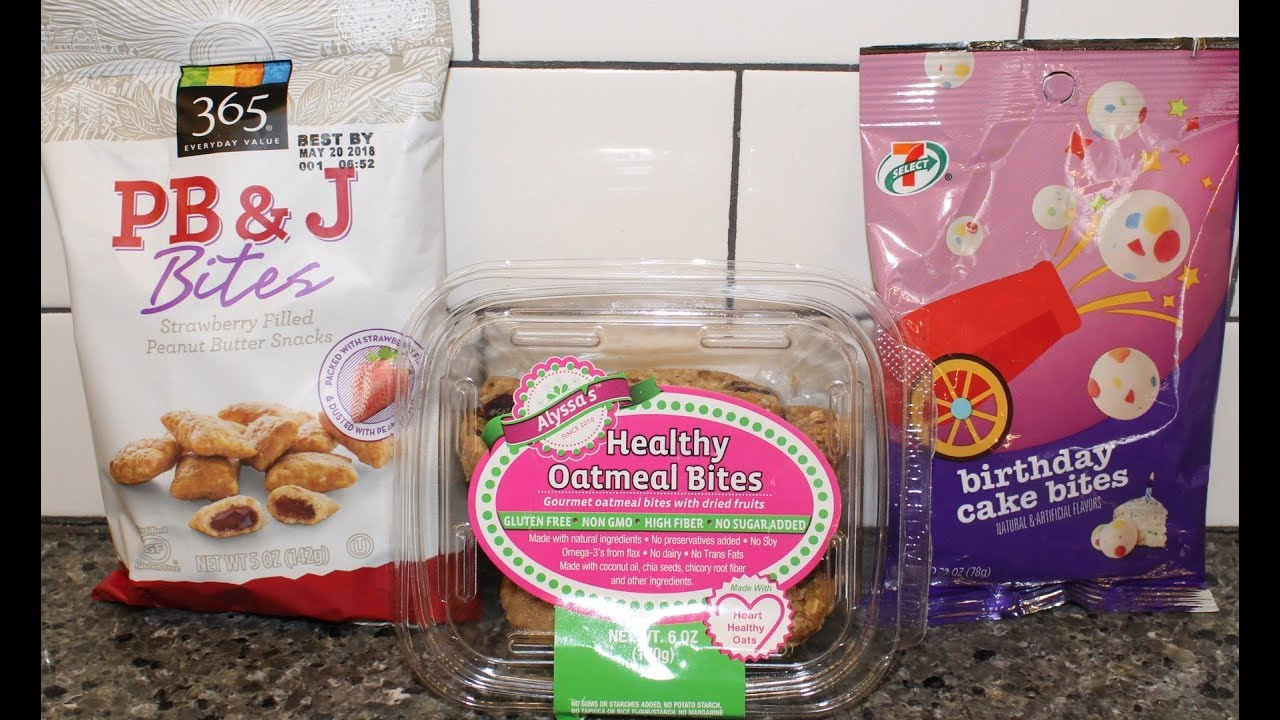 365 PBJ Bites Alyssas Healthy Oatmeal 7 Eleven Select Birthday Cake Review