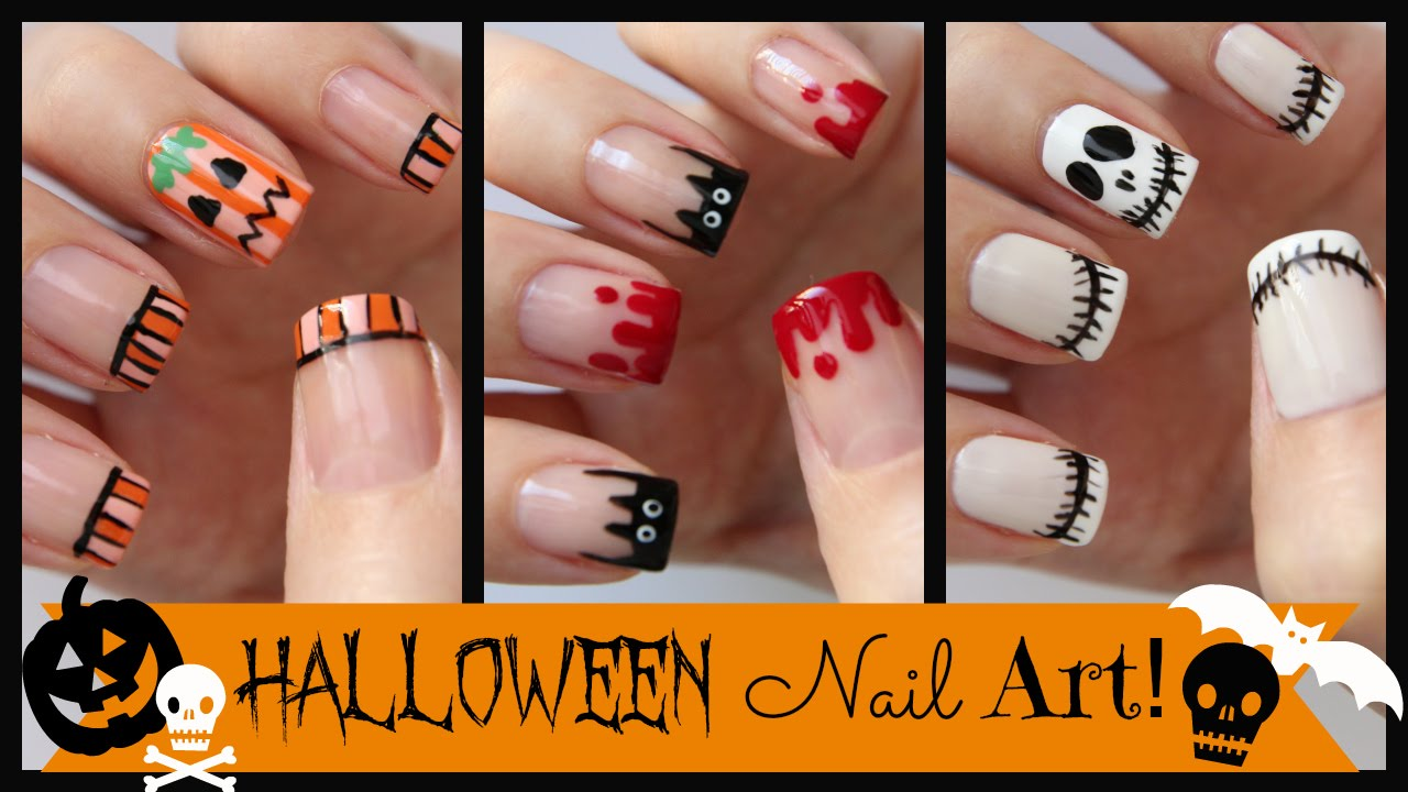 halloween nail art three french